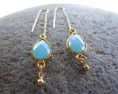 Aqua Blue Chalcedony Gemstone Drop Thread Earrings Gold Earring Threaders