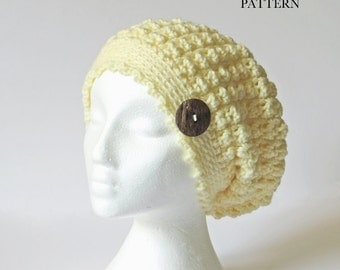 Crochet Slouch Hat PATTERN / Slouchy Beanie / Toque / Chunky Hat Pattern / Made in Canada