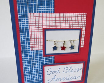 God Bless America Star Charms Blank Fourth Of July Card