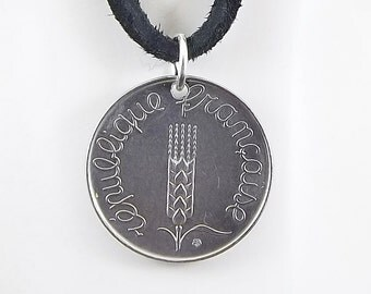 French Coin Necklace, 5 Centimes, Coin Pendant, Leather Cord, Mens Necklace, Womens Necklace, Birth Year, 1964