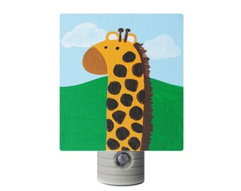 Night Light - Custom Hand Painted Childrenu0027s Soft LED Light w/ Automatic  Sensor Jungle Giraffe Safari Zoo Animals or