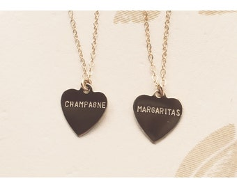 Champagne or Margaritas Heart Charm Necklace