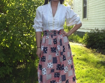 Granny Skirt Patchwork Patriotic Red White Blue Print Maxi Long Summer Vintage 70s S M L