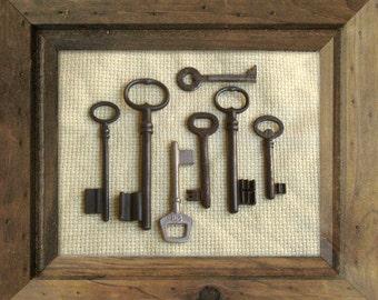 SALE - Vintage Skeleton Ornate Keys - Old French Keys - 7 Iron Keys (C-15g).