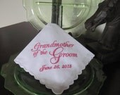 Personalized Grandmother of the Groom machine embroidered wedding handkerchief by Sweet Sewing Jeans