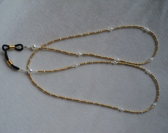 Eyeglass Lanyard - Never Misplace Your Glasses Again! Lovely Gold Seed Beads and Pearls