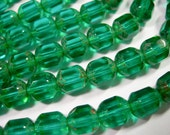 25 8mm Czech Glass Faceted Tube Teal Picasso beads