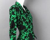 reserved 1980s UNGARO Paris blazer jacket floral green black baroque victorian wallpaper inspired print silk faille size small 4 vintage