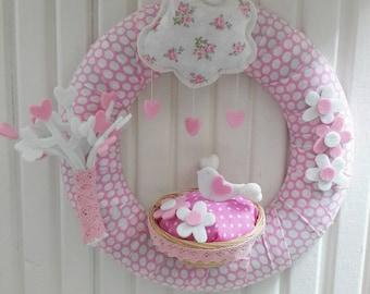 Cute Birds and Heart Tree, Pastel Pinks Baby Girl Door Wreath