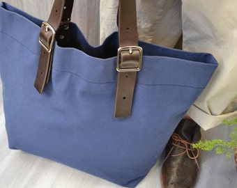 CROSBY STREET Original design, Hand made, Mens Canvas Bag, Shoulder tote, Blue cotton canvas, Leather handles, Womens canvas shoulder tote