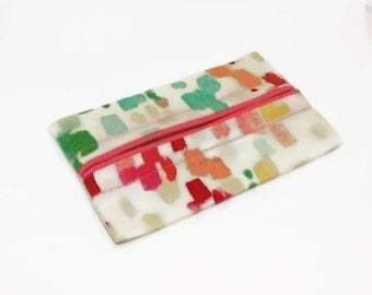 Travel Tissue Holder Coral Watercolor, Travel Tissue Cozy, Pocket Tissue Holder, Fabric Tissue Case