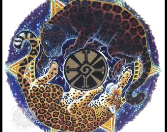 Mayan Jaguar Mandala Print