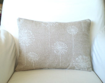 Tan White Dandelion Pillow Cover, Decorative Throw Pillows, Cushions Natural Cloud Denton Burlap-LIKE  12 x 16 or 12 x 18