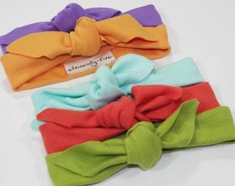SALE | Organic Stretch Knit Head Tie | Babies Organic Headband | Baby Girl | Infant Gift | Accessory | Green | Mint | Purple | Orange