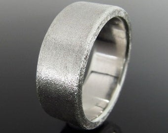 Rectangular Profile Sterling Silver Band Ring, Silver Wedding Band, Silver Wedding Ring, 8 x 2 mm, Heavily Brushed Finish