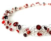 Red Pearl Garnet Necklace Silver Choker January Birthstone Cherry Red Berry Garnet Crimson Pearl & Crystal Knit Wire Necklace Gift for Her