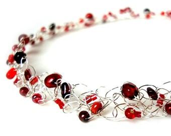 Dainty pearl choker Dainty beaded choker Garnet necklace Gemstone choker January Birthstone Valentine's day gift red necklace