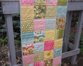 Bright Flower Squares Quilted Tablerunner