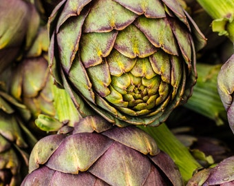 Artichokes at the market.  Vegetable wall art or kitchen wall art from food photography.  Fine art print for kitchen decor or wall art.