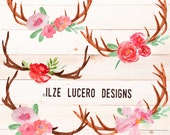 Watercolor hand painted antlers and flowers  PNG overlays Clip art