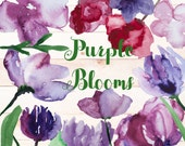 15 Watercolor hand painted Purple Blooms Botanical Clip Art PNG overlays - Flowers, Butterflies, leaves and roses