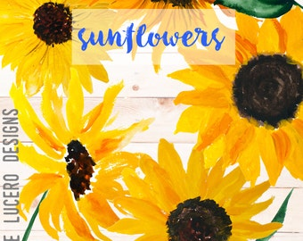 Sunflower Watercolor Botanical Clip Art PNG overlays - Yellow Flowers, leaves