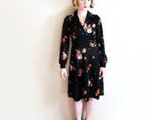 vintage dress 70s black floral print retro 1970s long sleeve womens clothing size extra small xs xxs