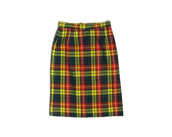 vintage skirt 1970s womens clothing plaid mini wool high waisted pencil size small s