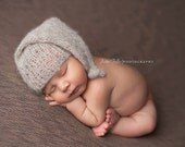 Hand Knit Baby Hat,  Knotted Hat, Newborn Photo Shoot Prop by Cream of the Prop