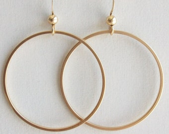 Circle earrings, FREE SHIPPING, Silver or Gold Earrings, Hoop Earrings, Modern Earrings, gift for Sister, Mom, Friend, Daughter, Bridal