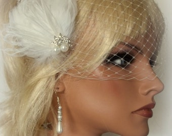Wedding Bridal Hair Fascinator, Feather Hair Clip, Bridal Fascinator, French Net Bridal Veil, Bridal Veil, White, Ivory, Pearls Rhinestones