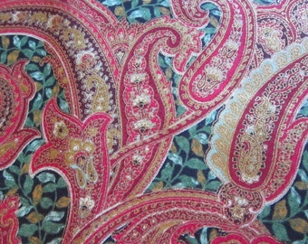 fabric by the yard - La Scala, red and metallic gold paisley - Robert Kaufman pattern 5862 - 44 inches wide