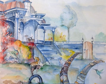 Kids at Play and Daddy Listens Original watercolor painting 16x20 inches blue house goats landscape