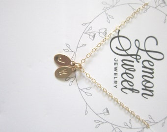 Tiny oval tags necklace, gold filled, delicate modern jewelry