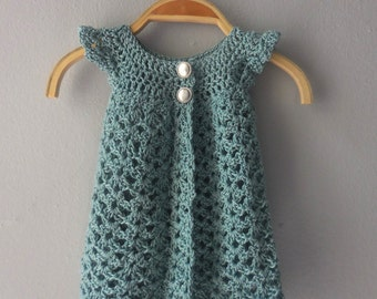 LUXURIOUS AQUA PINAFORE Vintage Silver Blue Hand Crochet Girls Cardigan Sweater Shrug 6 - 12 months  Baby Glam