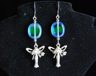 Silver and Blue/Green Beaded Fairy Godmother Earrings - FREE SHIPPING