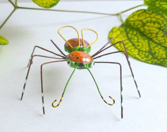 Colorful Flying Spider of Whimsy 1 Medium Copper Wire Spider Art Collector Item Gift for Gardener Gift for Patio Party Hostess Unique Insect