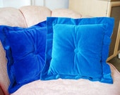 Pair 60's Blue Velvet Decorative Pillows