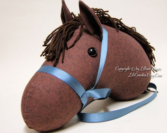 Stick Horse Head, Dark Brown with Choice of Dark Brown or Black Mane, MADE to ORDER, With or Without Stick