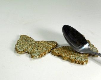 Pottery tea bag holder spoon rests - ceramic butterfly shaped spoon holders - ceramic butterflies - pottery chopstick rests set of 2