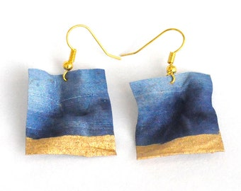 Blue and Golden Dangle Earrings, Textile Earrings, Fiber Jewelry, Handdyed Silk, Pefct Spring Summer Accessories