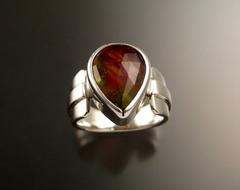 Watermelon Tourmaline and Lab Opal Doublet ring Sterling Silver OOAK handmade large Gemstone ring
