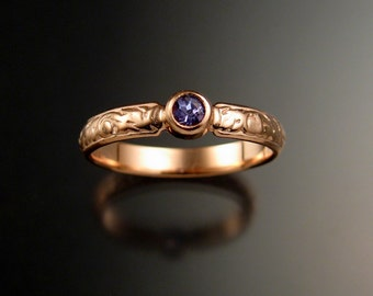 Tanzanite Wedding ring 14k rose Gold Victorian floral pattern bezel set ring made to order in your size