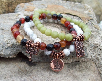 Charmed 3 Stack Stretch Bracelets - Lotus Dragonfly Sitting Buddha - Yoga Bracelets - gemstone bracelets