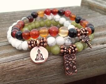 Charmed 3 Stack Stretch Bracelets - Lotus Dragonfly Sitting Buddha - Yoga Bracelets - gemstone bracelets