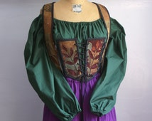 forest green peasant blouse shirt chemise for renaissance medieval faire gypsy pirate -ready to ship-