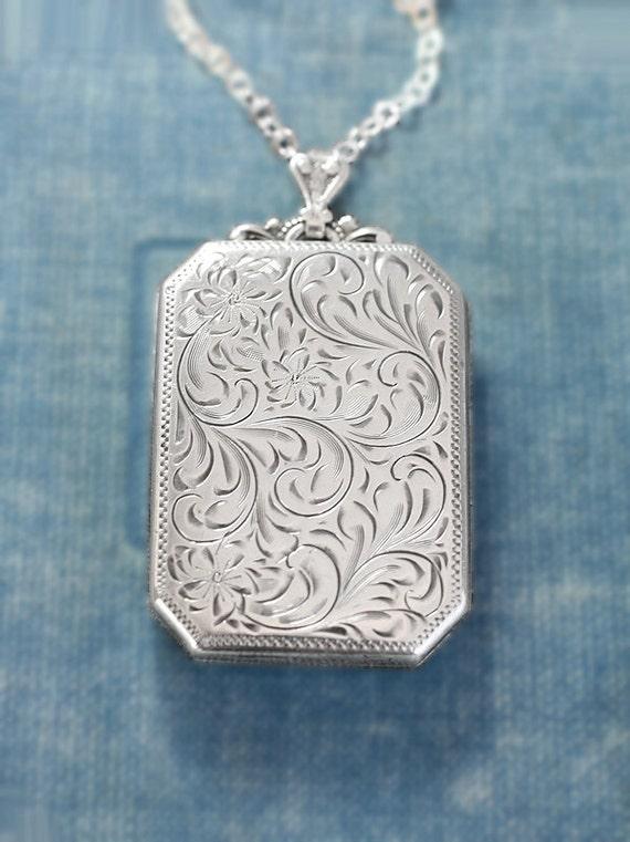 Large Sterling Silver Rectangle Locket Necklace Rare Vintage