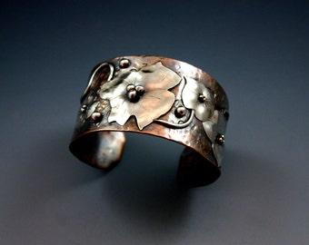 Unique Handmade Silver cuff bracelet, Copper Cuff, Copper Jewelry,Rustic Jewelry,Silver Cuff ,Metalwork,Art Jewelry, Mixed Metal Jewelry