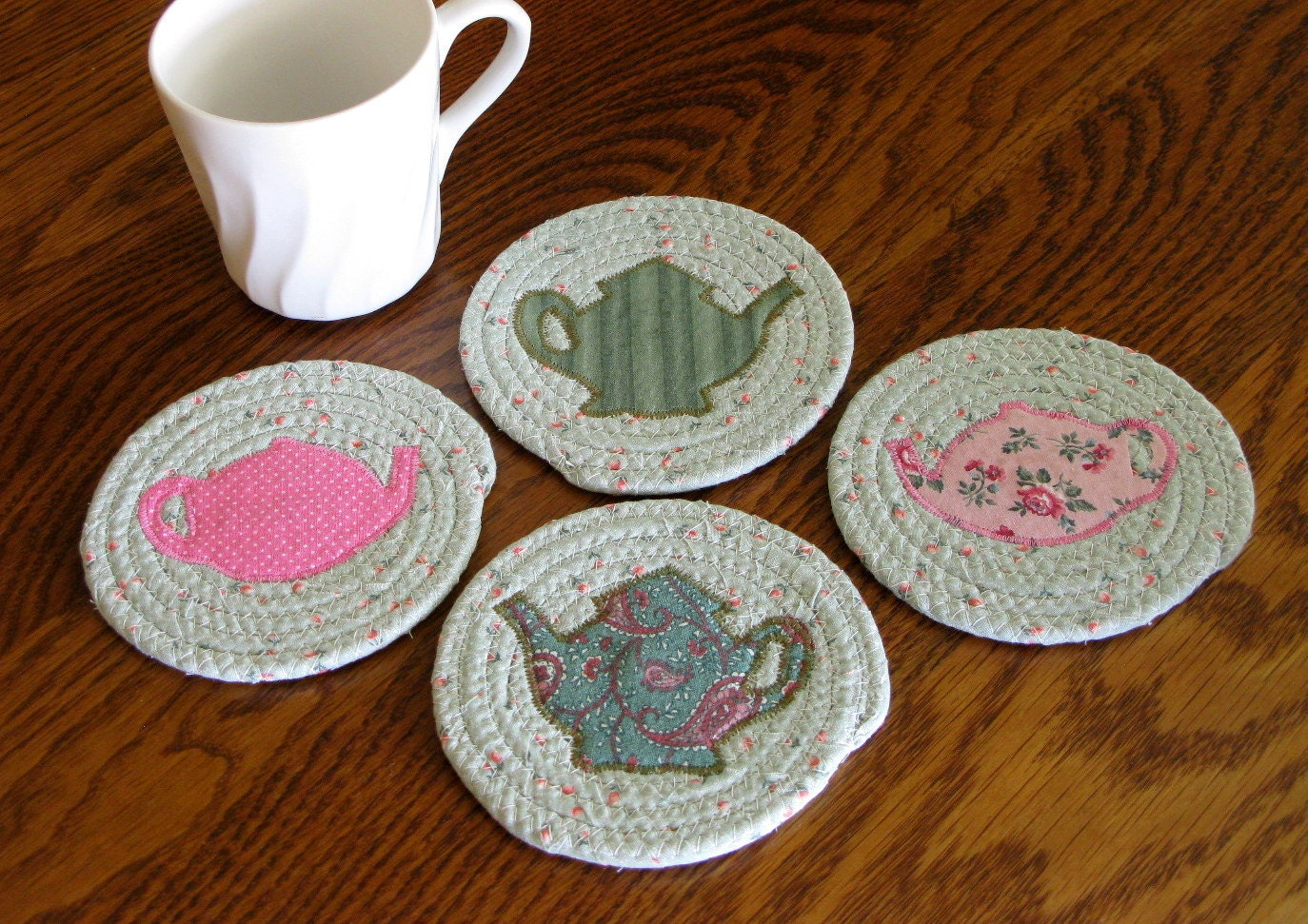 Coiled Fabric Coasters Mug Rugs Trivets Candle by DollPatchworks