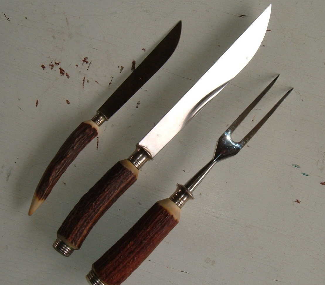 Cutlery set antler handles carving knife fork by